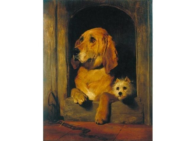 Painting of Large dog and small dog | NYC Dog Trainer Services & Dog Wellness |